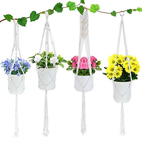 4 Stück Makramee Blumenampel - Baumwollseil Hängeampel, Pflanzenaufhänger Blumentopf Pflanzen Halter Aufhänger für Innen, Außen, Decken, Balkone, Terassendeko, Wanddeko,Garten (Reisweiß)