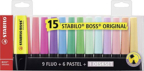 Stabilo Pacco da 3 Boss Original Desk-Set - 15 Colori Assortiti 9 Neon + 6 Pastel