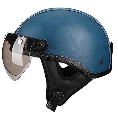 Vintage Open Face Motorcycle Helmet con Visera,Casco de Moto Medio Abierto ECE Homologado Casco de Motocicleta para Hombres Y Mujeres A,M