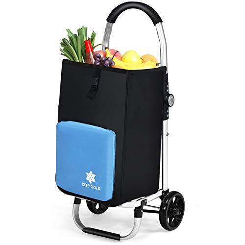 GOPLUS Klappbarer Einkaufstrolley, Einkaufswagen auf Rollen, mit Abnehmbarer Oxford-Tasche und isoliertem Kühlfach, Gestell aus Aluminiumlegierung, 53L, Belastbar 50 kg