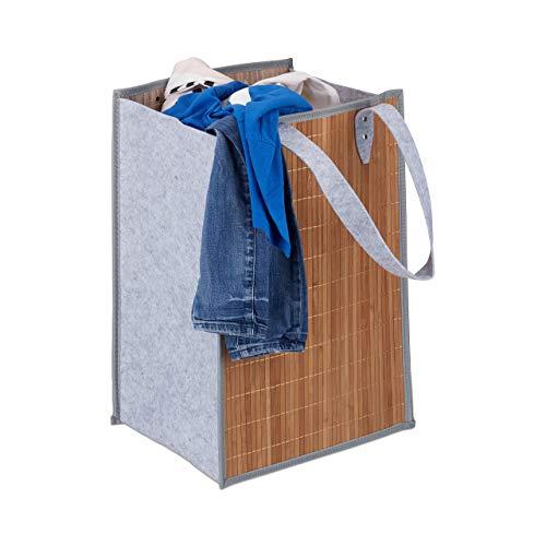 Relaxdays wastas, draagbaar, 70 liter, grote hengsels, van bamboe en vilt, opvouwbare wasmand, natuur-grijs