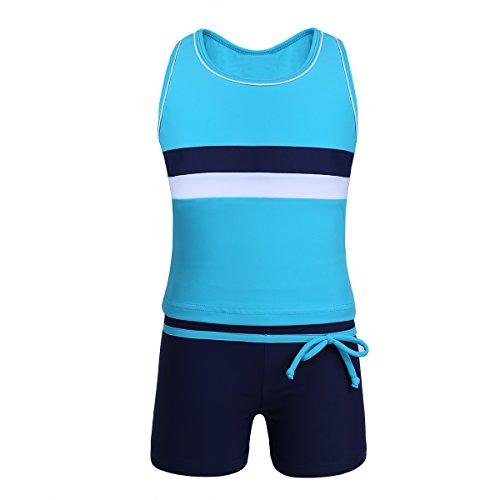 TiaoBug Mädchen Sport Tankini Set Badeanzug Retro Tank Top Tee T-Shirt Badeshirt und Shorts Badeshorts Schwimmanzug Bade Schwimm Bekleidung Blau 164