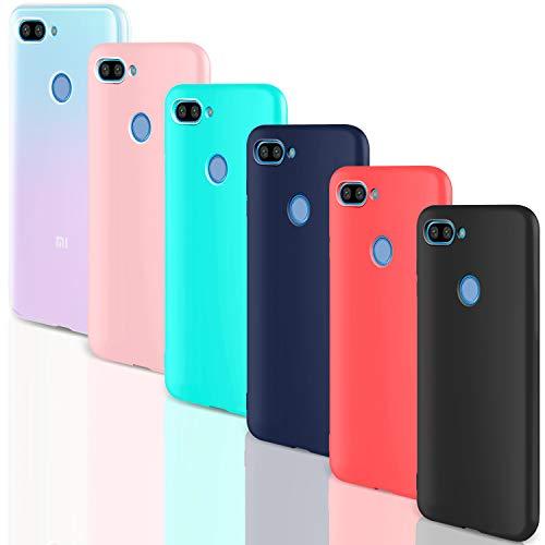"Leathlux [6 Packs Funda para Xiaomi Mi 8 Lite, Carcasas Colores Ultra Fina Silicona TPU Gel Protector Flexible Cover para Xiaomi Mi 8 Lite - 6.26"" - Translúcido Rosa Verte Azul Rojo Negro"