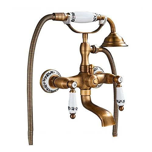 Grifo mezclador de bañera de estilo europeo con duch de mano en latón Mango de porcelana azul y blanca Teléfono Grifo de llenado de bañera antiguo montado en la pared de