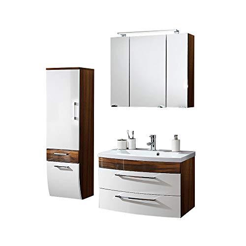 Badmöbel Set 3-teilig ● Weiß hochglanz & Walnuss Holz-Optik ● Badezimmer Komplettset: Spiegelschrank mit LED Beleuchtung, Waschtisch mit Unterschrank, Hochschrank ● Schubladen & Türen mit Softclose