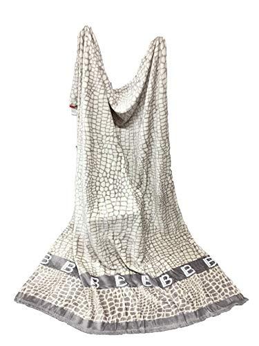 renna store Biagiotti Plaid polaire 130 x 160 cm, doux et chaud, 100 % polyester, produit importé (Gris, 130 x 160 cm)