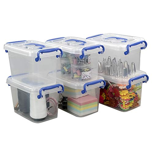 Eudokky 1.8 L Transparent Kisten mit Deckel, Satz von 6 Plastikbox, Mini Aufbewahrungsbox