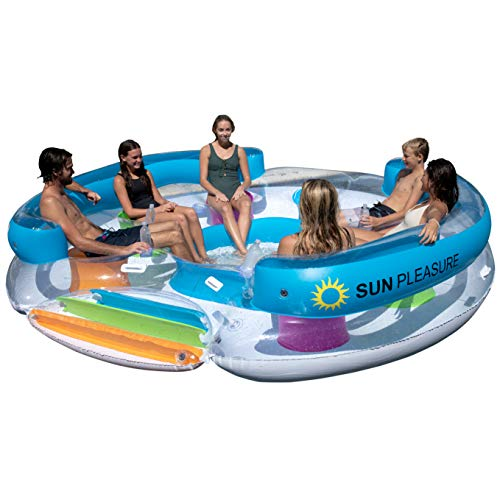 Sun Pleasure Tropical Tahiti Floating Island, Giant Float and Carrying Bag - use in Lake, Ocean, River, Pool Floats for...