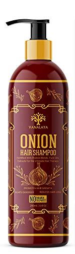 Glamorous Hub Vanalaya champú para el cabello con cebolla para el control de la caída del cabello y el control de la caspa sin parabenos y Suplate 200ml (el empaque puede variar)