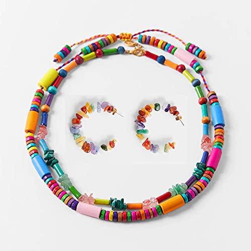 TTGE 2021 ZA Paquete de Collar Multicolor para Mujer Boho Collar de Cuentas de Hilo Tejido de Madera Joyería de Vacaciones de Verano al por Mayor