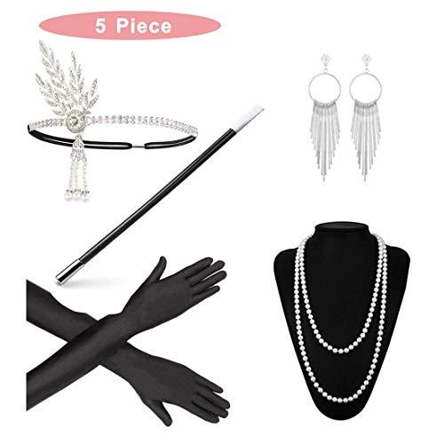 Tinke 1920er Jahre Kostümsets Stirnband Halskette Handschuhe Zigarettenspitze Ohrringe Retro Stil 5 Stück Kostüm Accessoires für Damen - Schwarz