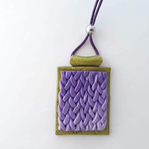 Colgante Rectángulo 3D Future Violeta y Verde