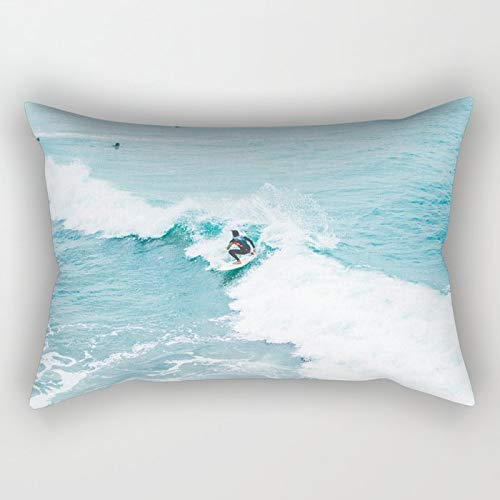 Yuanmeiju Wave Surfer Turquoise Rectangular Pillowcase Cushion Cover 20x30 Inch