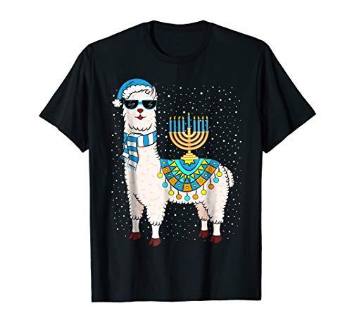 Menorah Hanukkah Llama T-Shirt Cute Alpaca Chanukah Gift T-Shirt