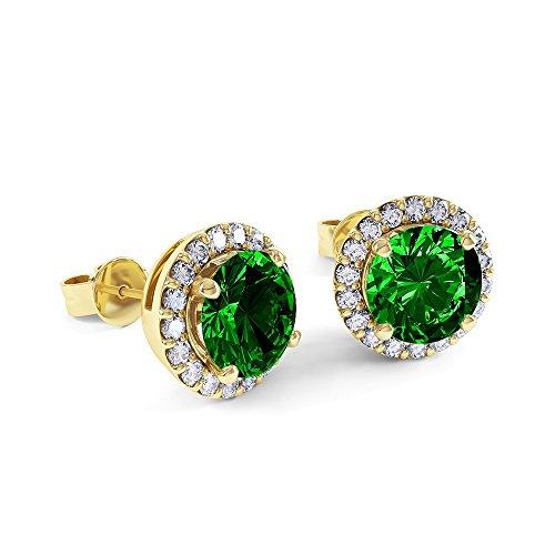 Eternity 2ct Emerald Halo 18ct Gold Vermeil Stud Earrings