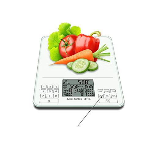 CHRISTYLE Smart Báscula Digital de Cocina, Vasculas de Peso Cocina con Pantalla LCD para Cocina de Acero Inoxidable, 5kg/11lbs, Báscula de Cocina Digital de Precisión con LCD Pantalla