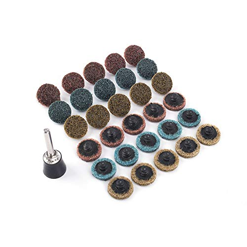 Juego de 16 piezas de almohadillas de pulido Roloc para superficies de pulido de cambio rápido con 1 soporte de 1/4 pulgadas