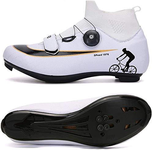 KUXUAN Calzado De Ciclismo De Carretera - Calzado De Bicicleta para Hombre Ligero Calzado De Bicicleta Resistente Al Desgaste Calzado De Bicicleta Zapato De Bicicleta De Montaña,WhiteB-EU42