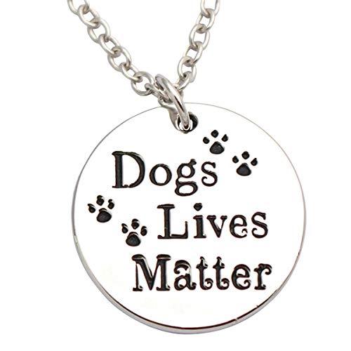 Queenbox Carta Colgante Collar Perros Vidas Materia y Huellas Ronda Palabra Círculo Colgante Collar...