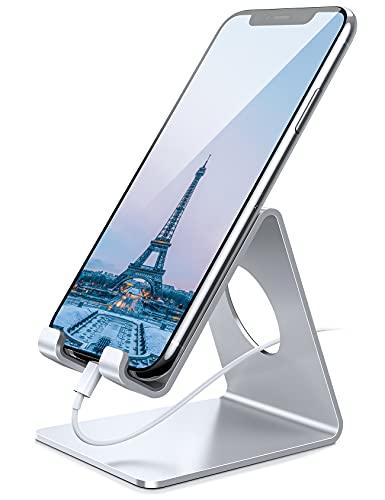 Amazon Brand - Eono Soporte Móvil, Universal Teléfono Soporte: Mesa Teléfono Base Dock para iPhone 12 11 Pro XS MAX XR X 8 7 6 Plus, Switch, Galaxy Note/S/A, Huawei, Otras Smartphones - Plata