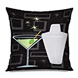 Onete Throw Pillow Cover Square 20x20 Inch Cocktail Retro Alcohol Martini Shaker Over Club Groovy Glass Lounge Refresh Mixer Mixed Party Bar Decorative Zippered Cushion Case Home Decor Pillowcase