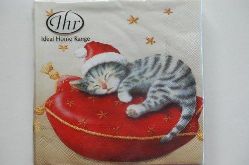 Natale Tradizionale Inglese IHR-Tovaglioli Di Carta Natalizi, Motivo: Babbo Natale Con Gattino, Kitch Motivo: Gatto