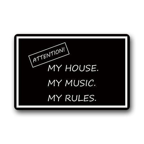 Jhonangel decoratieve vloermatten grappig citaten Let op Mijn huis Mijn muziek mijn regels anti-slip vloermatten voor binnen en buiten 23,6