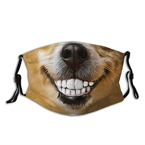 Funny Smiling Dog Face Mask Reusable Washable Dog Face/Mouth Cover For Man & Women With 2 Pcs Filters Balaclava
