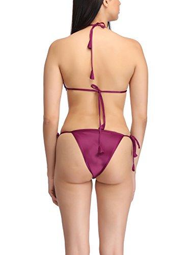 Clovia Women's Halter Neck Bra & Stringy Bikini Set (BP0231P31_Red_Free Size)