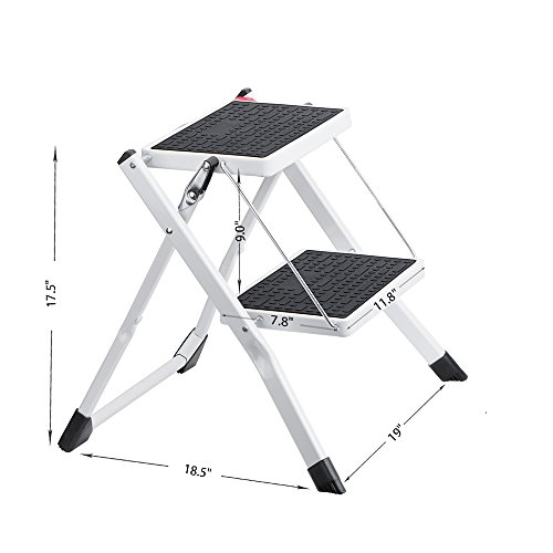 Delxo 2 Step Stool Stepladders Lightweight White Folding Step Ladder with Handgrip Anti-Slip Sturdy and Wide Pedal Steel Ladder Mini-Stool 250lbs 2-Feet
