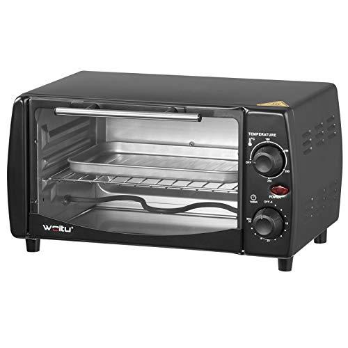 WOLTU BF08sz Minibackofen 12 Liter, 800 Watt Toasterofen | Pizzaofen | Backblech mit Timer Mini Backofen für Pizza, Toast, Truthahn, Hot Dogs Schwarz