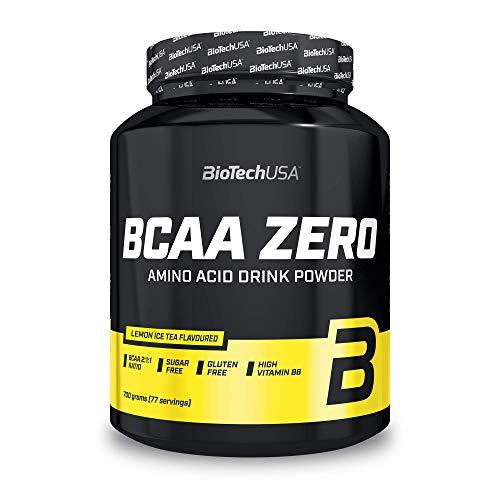 BioTechUSA BCAA Zero Bebida en polvo de aminoácidos aromatizada sin azúcar, con L-leucina, L-isoleucina y vitamina B6, 700 g, Té helado con limón