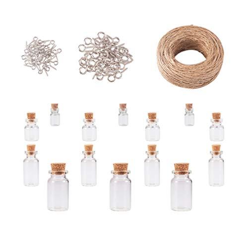 STOBOK Glass Bottles Bottles con Tapones de Corcho Bottles de Recuerdo de Cristal Bottles Vial con Tornillos de Ojo Cordel para Decoración de Bodas DIY para Fiestas en Casa