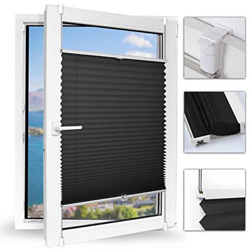 Achollo Plissee klemmfix ohneBohren faltrollos für Fenster Sonnenschutzrollo 60 x 130 cm (BxH) (Schwarz) für Wohnzimmer, Arbeitszimmer, Büro, Bibliothek