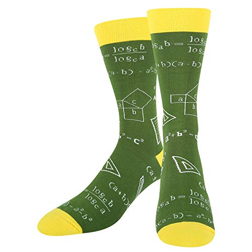 HAPPYPOP Men's Math Formula Novelty Funny School Socks, Gift for Nerd Genius Teacher in Green