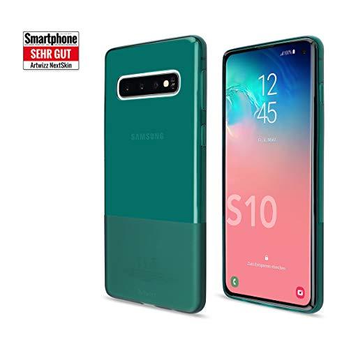 Artwizz NextSkin Case Designed für [Galaxy S10] - Ultra-dünne, elastische Handyhülle mit 0,8 mm Dicke, 2/3 Transluzent, 1/3 Matt - Petrol