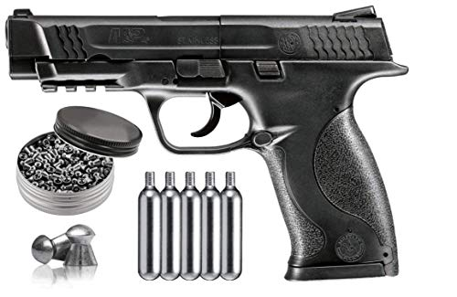 Umarex Smith & Wesson M&P 45 CO2 Semi Auto .177 BB/Pellets Air Pistol with 5 pcs of 12gr CO2 Tanks and Pack of 500 .177 Pellets