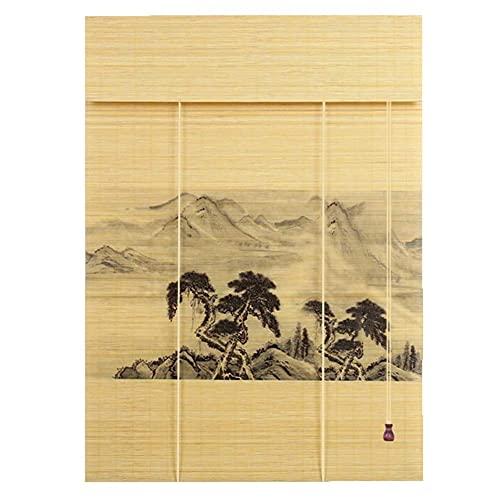 Sysyrqcer Natürliche Bambus-Druckwalze-Jalousien - Blackout Sun Shade für Pavillon Balkon Teehaus, Breite 50-140 cm, hoch 100-260 cm (Color : Flat Curtain, Size : 80x120cm)