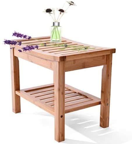 Silla de ducha Taburete de banco de ducha de bambú con estantes, asiento de baño de baño, organizador de almacenamiento impermeable antideslizante suave fácil de montar para baño, sala de estar, dormi