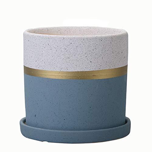 liushop Vasi di Fiori Flower Pot Piantare Pot Casa Traspirante Ceramica Vaso di Soggiorno Balcone Vaso di Fiori Verde Pianta grassa Conservazione Bacino Vasi per Piante (Size : M)