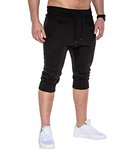 BetterStylz PumpUpBZ Kurze Jogging-Hose Sweat-Shorts Bermuda Fitness Crotch Pants Slim Fit 3/4 Jogger Hose