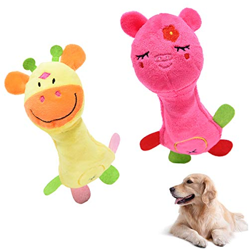 MICHETT Hundespielzeug Robustes Plüschtier Waschbares Quietschspielzeug Für mittlere und kleine Hunde(2 Stück)