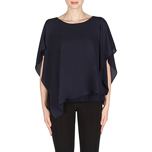 Joseph Ribkoff Midnight Blue Top Rounded Neckline With Plunge Rear Style 181260