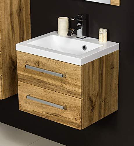 Quentis Badmöbel Genua, Breite 50 cm, Waschplatzset 2-teilig, 2 Schubladen, Front und Korpus Holzdekor Eiche Natur, Waschbeckenunterschrank montiert
