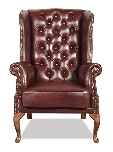 Casa Padrino Chesterfield Echtleder Ohrensessel Dunkelrot 80 x 80 x H. 110 cm Sessel