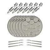 The Kitchenette - Service à Escargots de 18 pièces - 6 Assiettes à 12 Escargots Ø 19 cm + 6 Pinces à Escargots + 6 Fourchettes à Escargots
