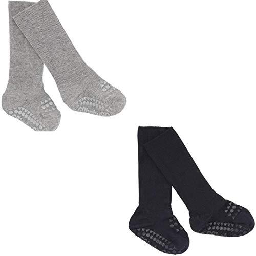 GoBabyGo Original rutschfeste Baby Krabbel Socken | ABS Non-Slip Unterstützung Für Aktive Kinder Im Krabbelalter | Bambus Viscose (1-2J (20-22cm), Pack of 2 - Grey Melange & Navy Blue)