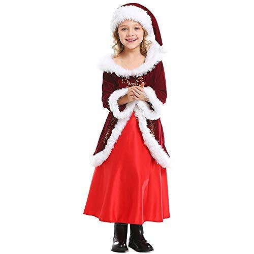 Christmas Partido De Cena De Navidad De Los Niños De La Etapa Ropa Espectáculo De Navidad Los Niños Vestido De Borgoña Nochebuena a-XL(140-150)