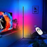 CRAZCALF Lampada da Terra LED con Telecomando, Moderna in Stile Minimalista RGB Piantana da Terra Dimmerabile, 20W RGB Color Ambiance per Sala Giochi, Soggiorno, Camera da letto,Nero, Right Angle Base