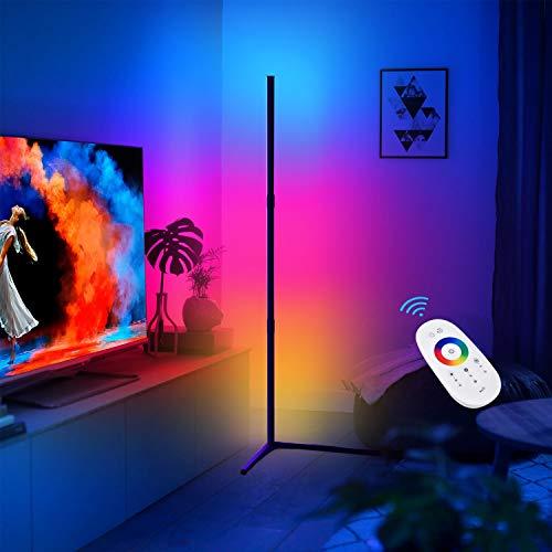 CRAZCALF Lampadaire RGB Couleur LED Lampadaire Salon Décoration de Style Minimaliste Moderne, Lampadaire LED Luminosité Réglable avec Télécommande, pour Salon, Chambre à Coucher,Noir, Right Angle Base